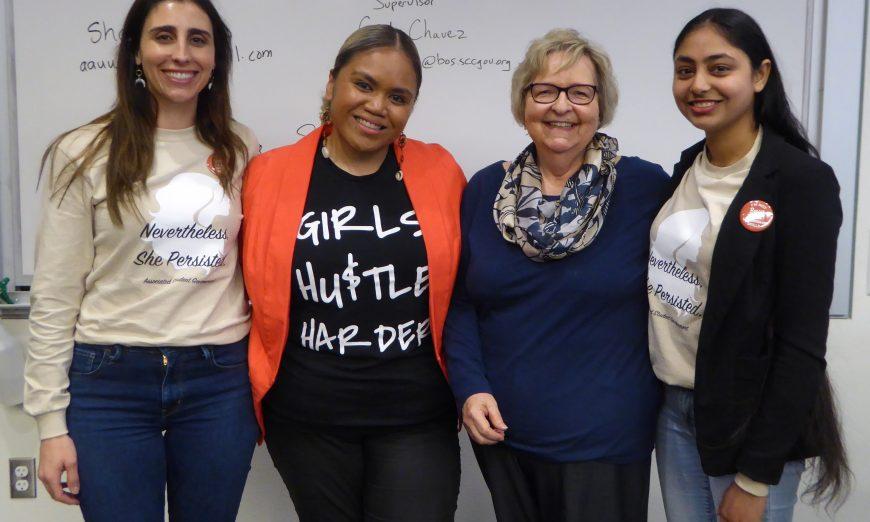 Mission College Women's Day Celebration Empowers All Rachael Goldberg, Terisa Siagatonu, Sharon Bouska and Sukhnoor Kaur, Cindy Chavez