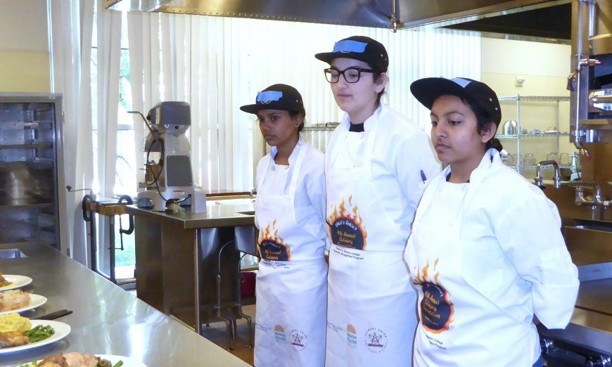 Mission College Hospitality Program, Hats Off to Student Chefs at Mission College's 2019 What's Cookin'? Competition Wilcox team Caitlin, Gurkirat and Janki, Mission College's 2019 What's Cookin'? Competition