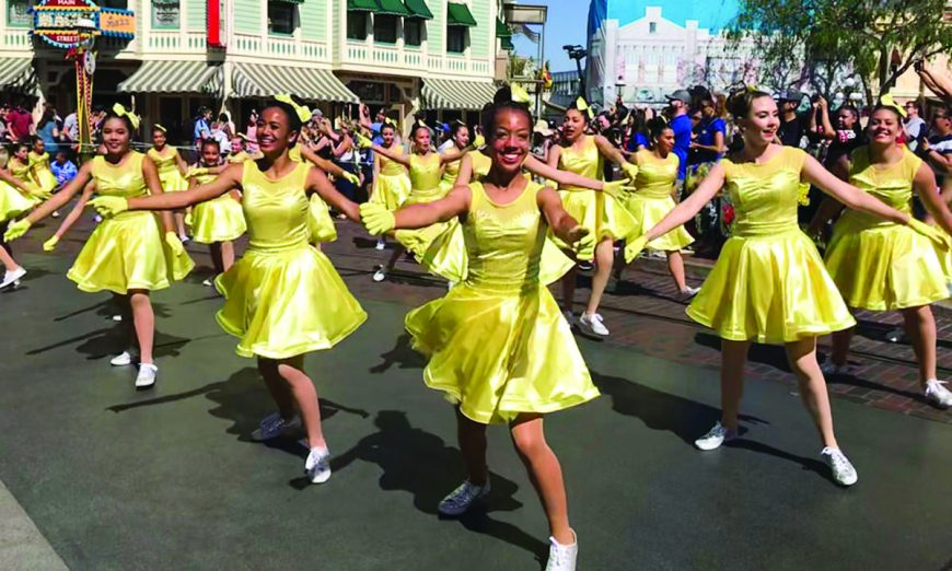 Dancing down Main Street in Disneyland