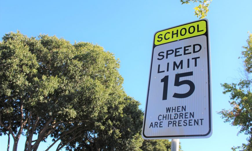 There is now a 15 Miles per hour speed limit around Sunnyvale's public schools which children are present.