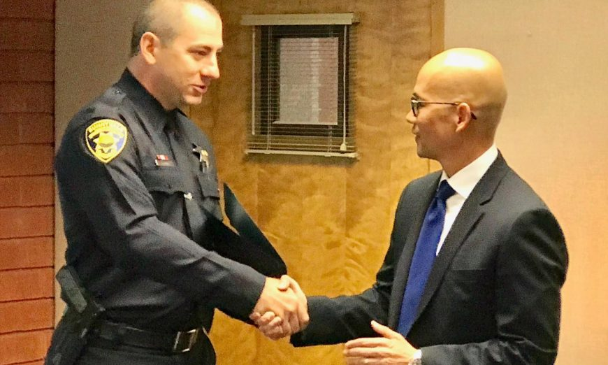 Sunnyvale DPS Officer Stephen Cronin was at the right place at the right time when he helped someone during a medical emergency in Ireland.