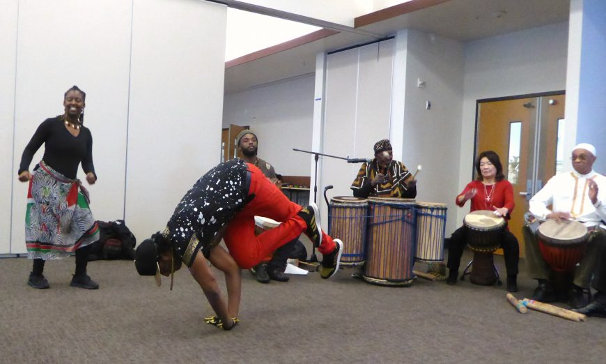 The Mission College community gathered to celebrate Kwanzaa and the African-American traditions. Kwanzaa is a African celebration.
