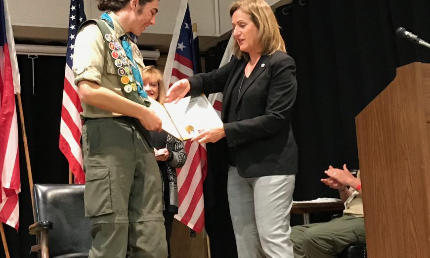 Santa Claran Nicky Caldwell recently got the honor of the Eagle Scout Award. He remodeled a lumber storage and set shop for the RJJT.