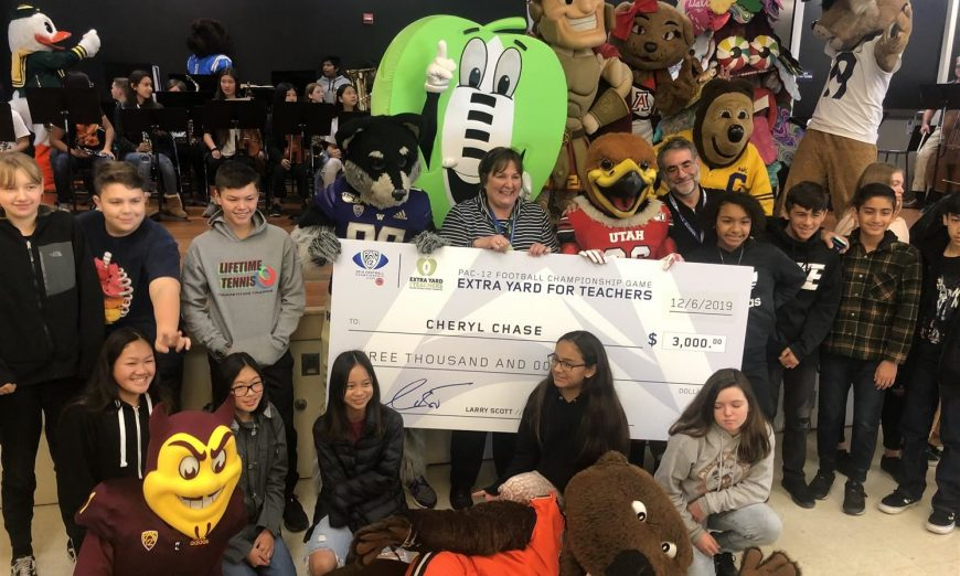 Pac-12 awarded Santa Clara Unified Teachers with checks. Cynthia Mallison, Cheryl Chase, Jennifer Zeitler and Ildiko Stennis all got $3K.