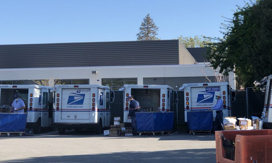 Sunnyvale Postal Workers continue to deliver mail to keep the community connected. They're an essential workforce and try to stay safe.