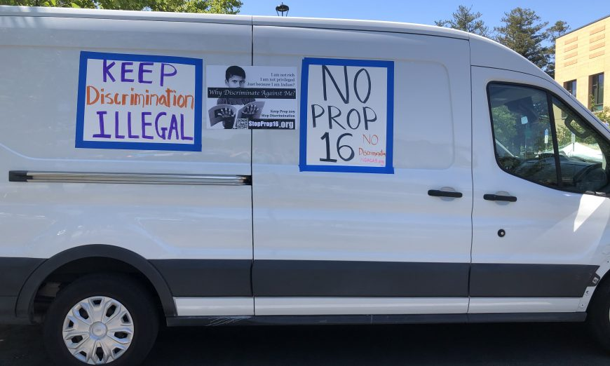 A local group held a Car Parade to oppose Proposition 16. Prop 16 is designed to repeal Proposition 209. Prop 209 was passed to lessen discrimination.