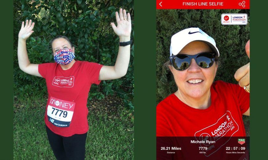 Santa Clara Unified School District Board President Michele Ryan ran the London Marathon in her hometown of Santa Clara. The event was virtual.