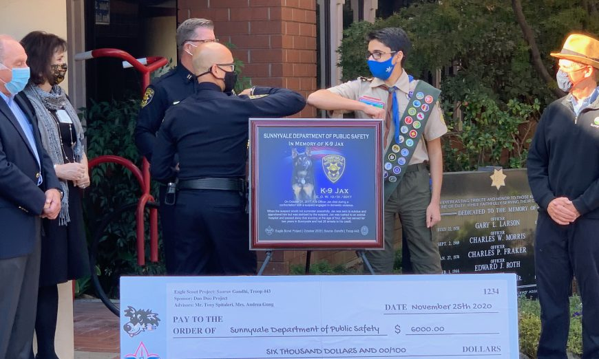 Sunnyvale Eagle Scout Saurav Gandhi has donated $6,000 to the Sunnyvale Department of Public Safety's K-9 program in honor of K-9 Officer Jax.