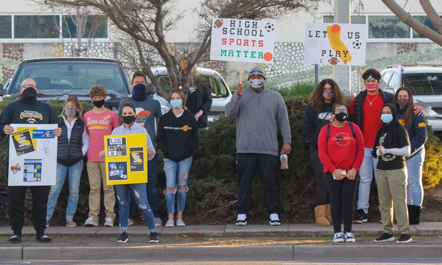 Let Them Play Rallies popped up around California. Familes held these rallies to show their support for allowing high school sports to play.