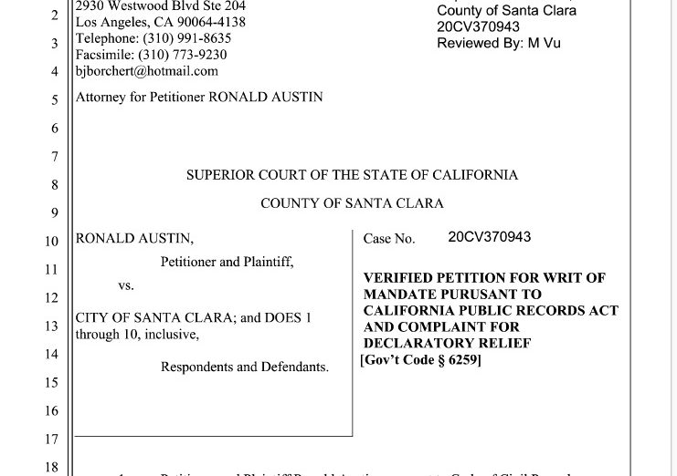 Roland Austin has brought a lawsuit against the Santa Clara Police Department regarding Police Records that are already public.