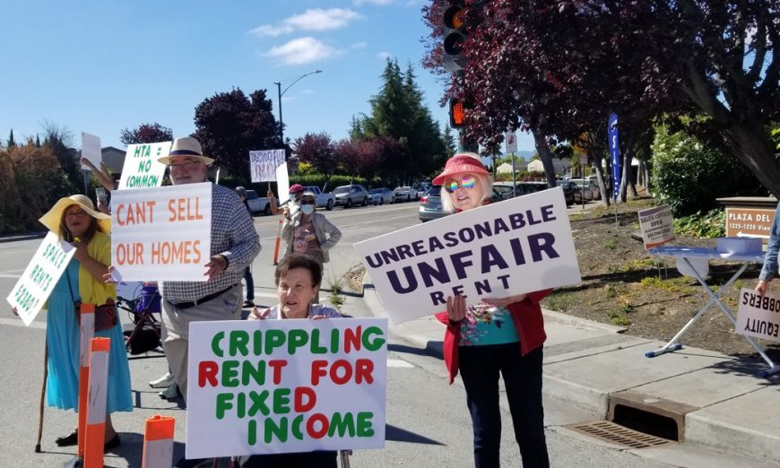 Residents of the Plaza del Rey Sunnyvale Mobile Home Park protest every Saturday. They are upset at skyrocketing rents.