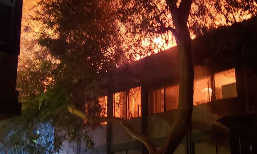 A Wednesday night fire broke out at an office building on Saratoga Avenue in Santa Clara. No one was injured.