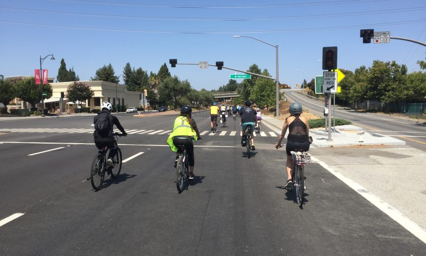 Cyclists take to El Camino to advocate for protected bike lanes. The event was organized by the Silicon Valley Bicycle Coalition.
