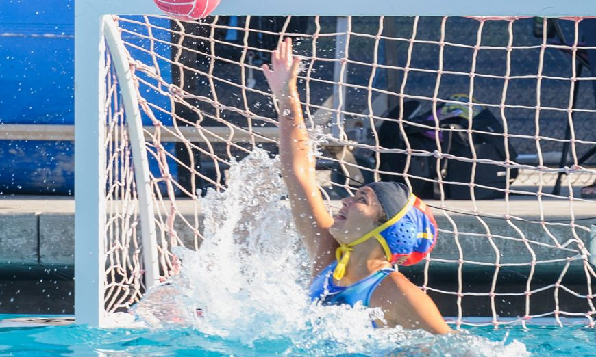 The Santa Clara Bruins water polo squad won over the visiting Saratoga Falcons. Miranda Gutierrez is the new, talented goalkeeper.